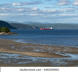 A cargo ship on the Saguenay River near l'anse St Jean Quebec surrounded by blue sky and water and a sandy puddled beach at low tide.