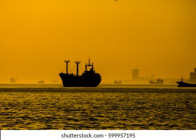 Cargo ship on sea in the rays of the setting sun.