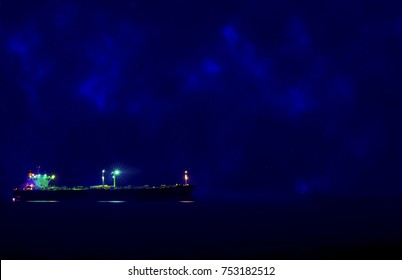 cargo ship on the sea with the star moon background