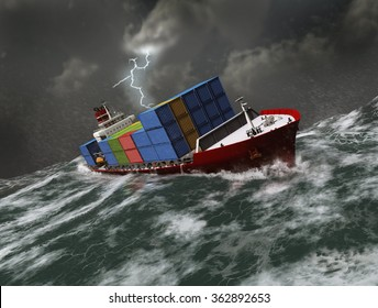 Cargo ship on a stormy sea