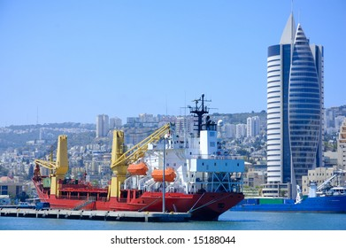 cargo ship in a port of Haifa