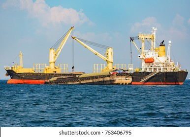 Cargo ship is sailing up to export
