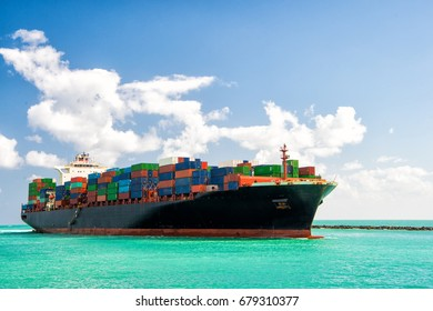 Cargo ship sailing to Miami, delivery and logistic