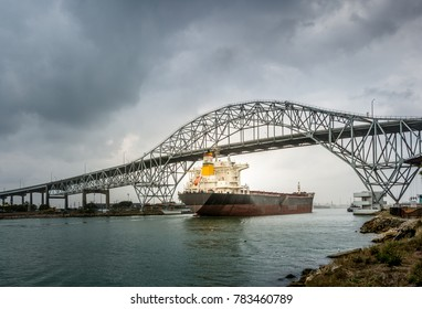 Cargo ship sails under the Harbor Bridge at Corpus Christi at the Gulf of Mexico, Texas, USA