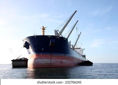 Cargo ship at the sea.