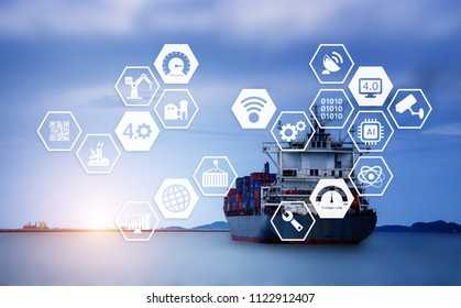 Cargo ship Sending goods to destination with sunlight at horizon and industry graphic icon.