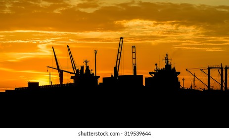 Cargo ship at sunset time in beautiful light