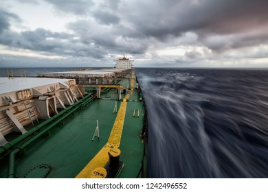 Cargo ship underway. Motion effect
