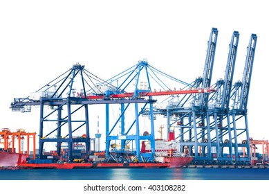 Cargo ship-lifting cranes in the harbor isolated on white background
