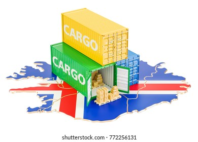 Cargo Shipping and Delivery from Iceland isolated on white background