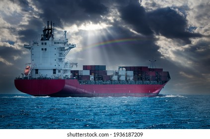 Cargo shipping transportation logistic commerce industry loading export on sea with blue cloud sky background.