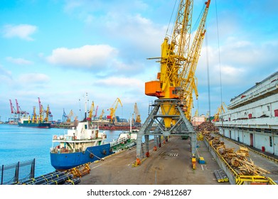 Cargo ships and cranes in seaport of Odessa, Ukraine
