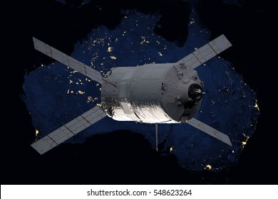 Cargo spacecraft - The Automated Transfer Vehicle over the planet Earth. Elements of this image furnished by NASA.