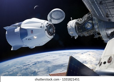 Cargo spacecraft in low-Earth orbit. Elements of this image furnished by NASA.
