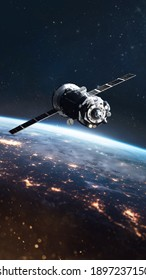 Cargo spaceship on orbit of Earth planet. Space vertical wallpaper. View from space station. Elements of this image furnished by NASA.