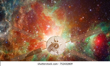 Cargo spaceship in the space. Astronomy and outer space conception. Elements of earth on this image furnished by NASA.