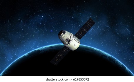 Cargo spaceship in the space and earth on the background. Astronomy and outer space conception. Distant galaxies and deep space. Elements of earth on this image furnished by NASA