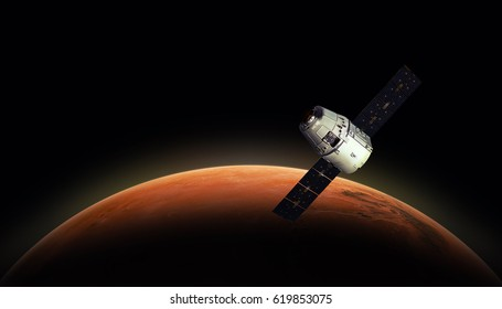 Cargo spaceship in the space and MARS dusk on the background. Astronomy and deep space conception. Colonization of Mars. Elements of this image furnished by NASA