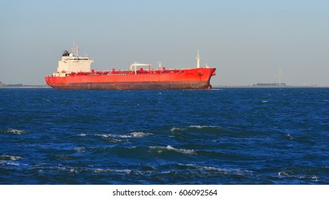 Cargo tanker ship sailing in blue sea near to Vlissingen, the Netherlands