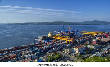 Cargo terminal of sea port in Vladivostok city