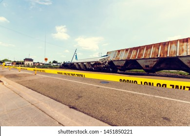 Cargo train accident (side view)