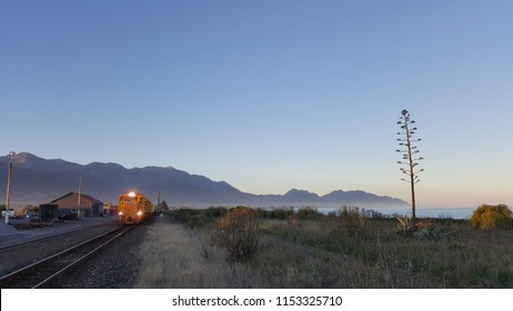 A cargo train departing from train station during twilight hours in Kaikoura, New Zealand. The color of the sky is soft and vibrant. In the background, there are mountain, ocean and a unique tree.