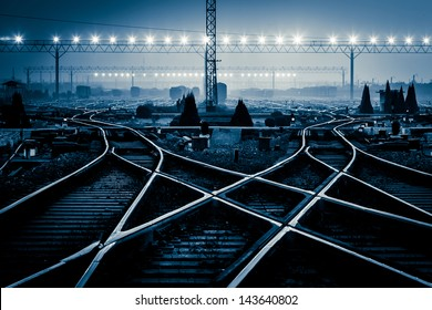 Cargo train platform at sunset with container