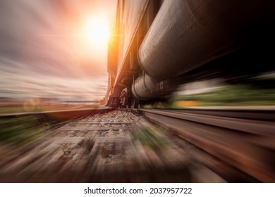Cargo train speed fast motion on railway to delivery cargos to industry station,logistic trasportation business concept.