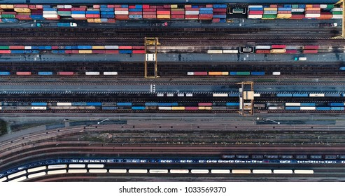 Cargo Trains and Containers at a Terminal