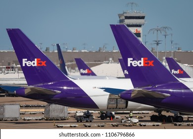 Cargo is transferred to and from FedEx Express planes at their SuperHub at the Memphis International Airport in Memphis Tennessee, June 3, 2018.