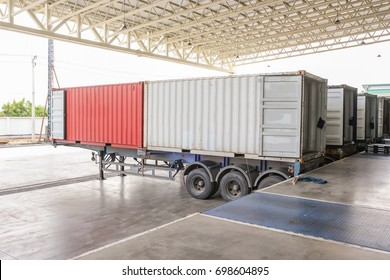 Cargo Transportation - Containers and trucks in the warehouse