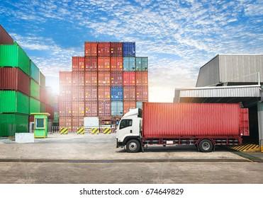 Cargo transportation unloading container trucks in warehouse logistics import export background