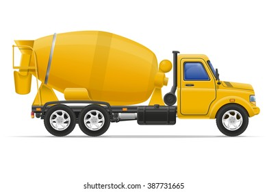 cargo truck concrete mixer illustration isolated on white background