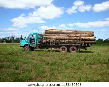 Cargo truck loaded with