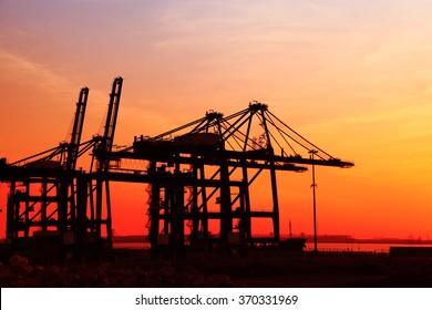 Cargo wharf crane at night