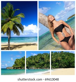 Caribbean beach collage with sexy woman near palm