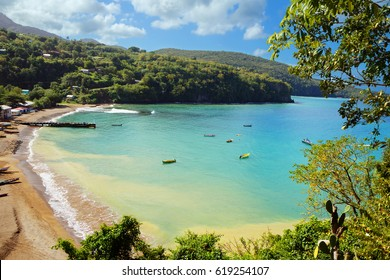 The Caribbean. The beach of the island of Saint Lucia  St. Lucia is considered the most beautiful island in the Caribbean sea. On the island the best beaches in the Caribbean.