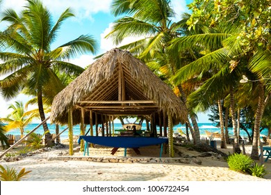 Caribbean beach landscape with palm trees and thatched roof construction on the sand beach