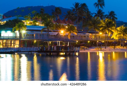 The caribbean beach at night, Martinique island, French West Indies.