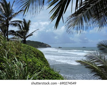 Caribbean Coastline and Atlantic Ocean Waves at the Dominica, Lesser Antilles