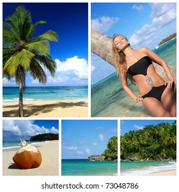 Caribbean collage. Relaxing woman and palm on beach