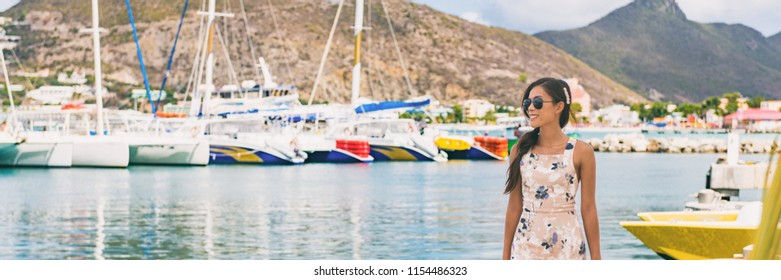 Caribbean cruise travel woman touristin Philipsburg, St Maarten, holiday banner landscape panorama. Cruise ship travel destination. Netherlands Antilles.