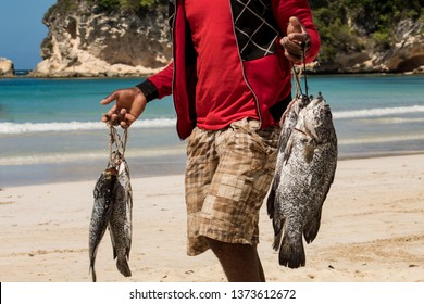 Caribbean fisherman walking on a beach in the Dominican Republic, selling freshl fish, just caught. Amazing turquoise sea, typical and local scenery.