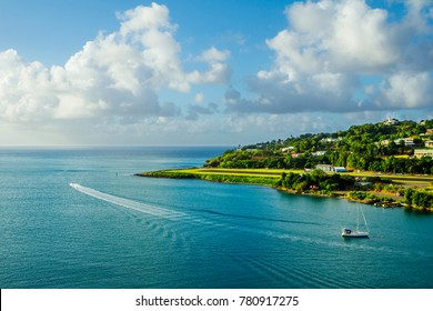 The Caribbean. The Island Of St Lucia. A landing strip of the airport. St. Lucia is considered the most beautiful island in the Caribbean sea. The island has two airports.