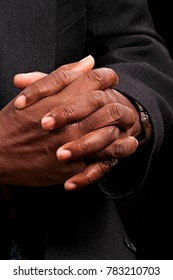 Caribbean man praying in church stock image and stock photo