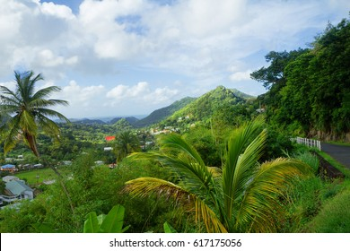 Caribbean. The nature of the island of Grenada. On the island there are crystal clear mountain lakes, and tropical undergrowth, and the emerald expanse of cane fields, and caves-caves.