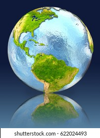 Caribbean on globe with reflection. Illustration with detailed planet surface. Elements of this image furnished by NASA.