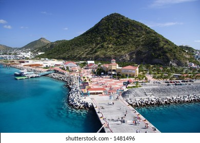 Caribbean pier with fantastic blue water