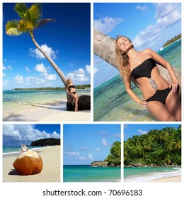 Caribbean relax collage. Woman relaxing on palm on beach