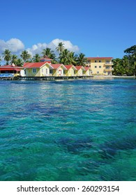 Caribbean resort with cabins over the sea, Carenero island, Bocas del toro, Panama, Central America